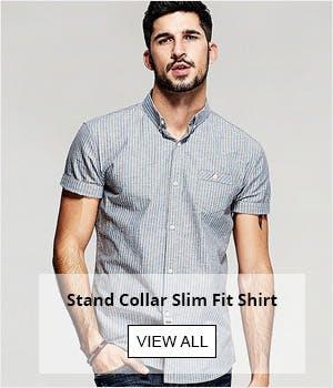 Stand Collar Slim Fit Shirt